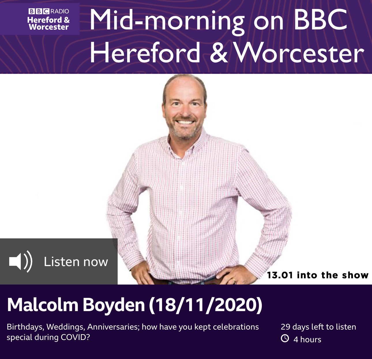 Liz Taylor inspires one family's lockdown anniversary celebration BBC Hereford & Worcester Malcolm Boyden 18.11.2020