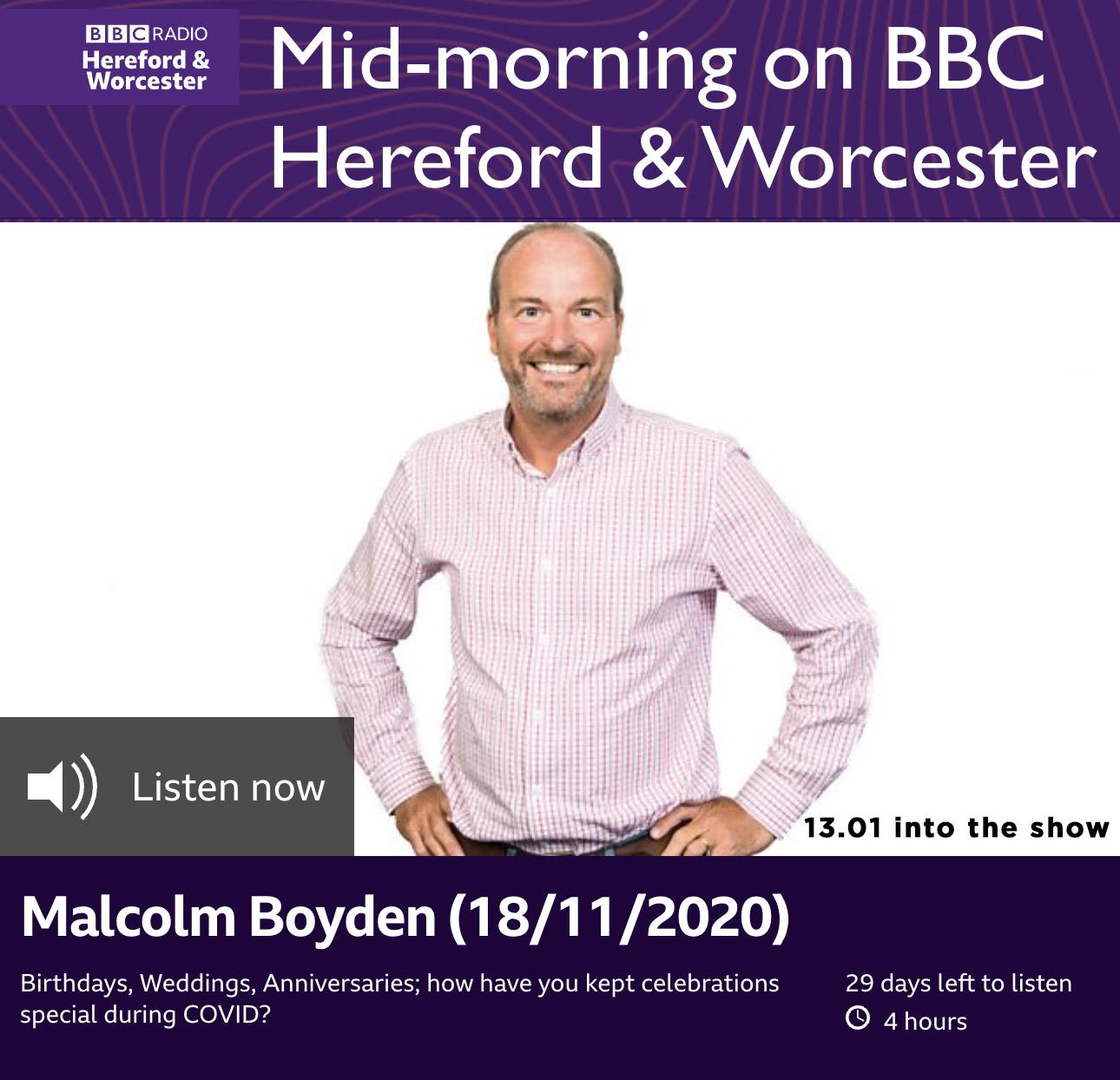 Liz Taylor inspires one family's lockdown anniversary celebration BBC Hereford & Worcester Malcolm Boyden 18.11.2020